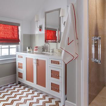 SB Long Interiors - garages - white and rust red vanity, two tone sink vanity, lucite hardware, white vanity with painted cabinet front, lucite pulls, lucite hardware, chevron floor tile, chevron tiled floors, brown and white chevron floor tile, chevron bathroom floors, glass shower door, red trimmed bath towel, polished nickel medicine cabinet, recessed nickel medicine cabinet, polished nickel wall sconce, two tone walls, gray walls, red window shade, red window shade with gray trim, red roman shade, red roman shade with gray trim, painted half wall, painted lower wall, sloped ceiling, angled ceiling, brown chevron tiles, brown chevron floor, 2 tone vanity, 2 tone sink vanity, 2 tone washstand, white and orange vanity, white and orange washstand,
