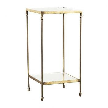 Tables - LUXE SIDE TABLE WITH GLASS I HD Buttercup - gold antiqued glass side table, antiqued gold side table, gold side table with antiqued glass,