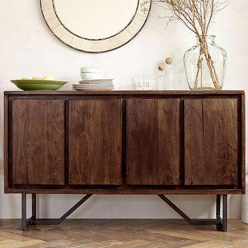Tables - Geometric Base Console | West Elm - modern walnut console, iron based walnut console, walnut buffet with iron base, modern walnut buffet,