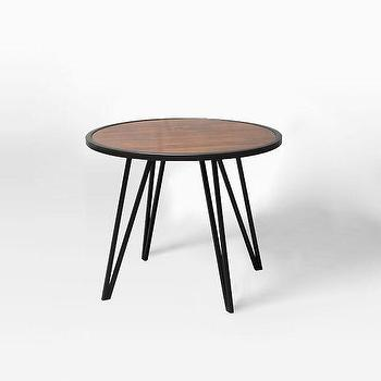 Tables - Pin Leg Side Table | West Elm - round hairpin side table, wood topped hairpin side table, round mid century side table,