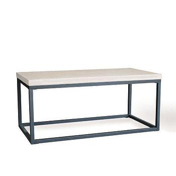 Tables - Slab Box Frame Coffee Table - Rectangle | West Elm - modern concrete coffee table, iron based concrete coffee table, concrete coffee table, concrete coffee table with iron base,