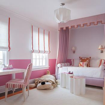 SB Long Interiors - girl's rooms - bubblegum pink walls, pink walls, pink two tone walls, two tone walls, two tone wall color, roman shade with pink trim, white shade with pink trim, window shade with pink grosgrain trim, white lacquered desk, pink and orange striped chair, pink and orange striped parsons chair, clover shaped stool, clover shaped table, cream rug with orange border, ivory rug with orange border, pink daybed, kids daybed, girls daybed, sconces over bed, sconces over daybed, pink bed curtains, pink bed drapes, pink bed canopy, pink daybed curtains, pink daybed drapes, pink daybed canopy, pink bed canopy with orange trim, orange greek key pillow, pink and orange bedroom, pink and orange kids bedroom, pink and orange girls bedroom, modern white pendant, daybed canopy, pink daybed canopy, two toned walls, greek key bookcase,