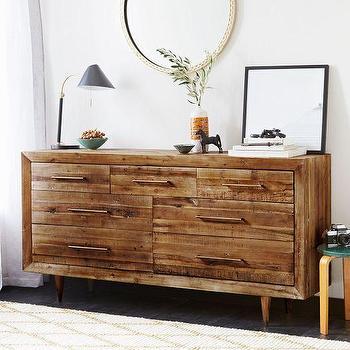 Storage Furniture - Alexa 7-Drawer Dresser | West Elm - reclaimed pine dresser, 7 drawer pine dresser, seven drawer pine dresser, mid century style pine dresser,