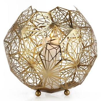 Decor/Accessories - Aspect Hurricane | Z Gallerie - gold geometric hurricane, gold laser cut candle holder, gold laser cut candle hurricane,