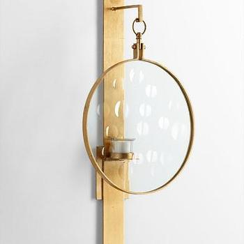 Art/Wall Decor - Templeton Wall Candleholder design by Cyan Design | BURKE DECOR - gold glass wall sconce, gold wall candleholder, gold wall sconce with glass screen,