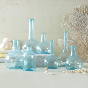 Decor/Accessories - Set of 7 Aquamarine Bottles | BURKE DECOR - aquamarine bottles, seaglass blue bottles, aquamarine blue bottles,