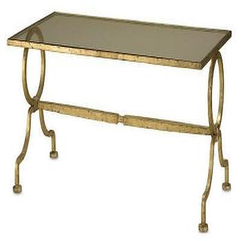 Tables - Gilbert Rectangular Table design by Currey & Company | BURKE DECOR - antiqued gold coffee table, gold glass top coffee table, gold leafed coffee table,