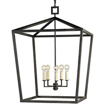 Lighting - Denison Lantern Large design by Currey & Company | BURKE DECOR - black iron lantern, iron lantern pendant, modern iron lantern pendant, iron cage lantern pendant, iron lantern with round bulbs,