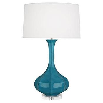 Lighting - Pike Table Lamp with Lucite Base Robert Abbey I BURKE DECOR - teal blue table lamp, modern teal table lamp, teal lamp with lucite base, blue lamp with lucite base,