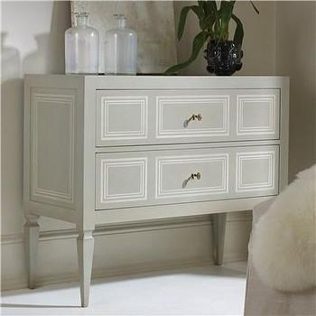 Storage Furniture - Modern History Home Milan Commode I Layla Grayce - gray chest, gray chest with ivory trim, gray two drawer commode, traditional gray commode,