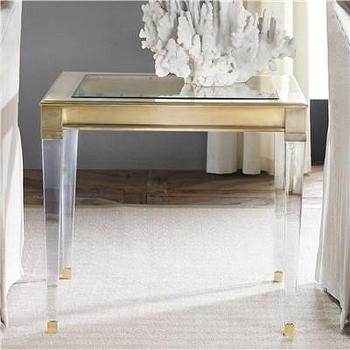 Tables - Modern History Home SoHo End Table I Layla Grayce - brass end table with glass legs, brass side table with plexi glass legs, brass and lucite style end table,