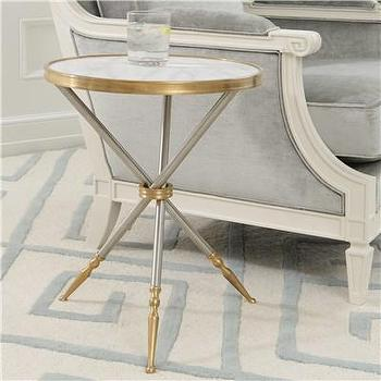 Tables - Global Views Furniture Campaign Side Table I Layla Grayce - campaign side table, modern campaign side table, steel and brass tripod side table, marble topped tripod end table,