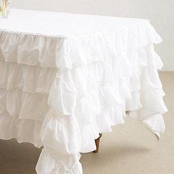 Decor/Accessories - Petticoat Tablecloth I anthropologie.com - ruffled tablecloth, ruffled white tablecloth, white shabby chic tablecloth,
