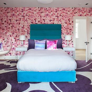 Melanie Morris Design - bedrooms - petal wallpaper, cherry blossom wallpaper, pink cherry blossom wallpaper, purple and white rug, modern purple and white rug, aubergine and white rug, purple and white damask rug, large scale purple damask rug, turquoise velvet bed, turquoise velvet channel tufted bed, tie dye pillow, pink tie dye pillow, blue tie dye pillow, white nightstand with lucite base, lucite nightstand, modern white lamp, contemporary white lamp, purple pillow, aubergine pillow, hanging bubble chair, hanging acrylic chair, acrylic bubble chair, purple damask rug, large scale damask rug, large print damask rug, turquoise headboard, turquoise blue headboard, lucite base nightstand, crushed velvet pillow,