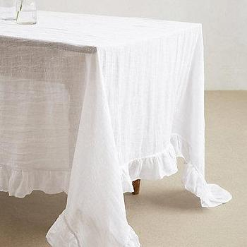 Decor/Accessories - Farmhouse Tablecloth I anthropologie.com - ruffled linen tablecloth, white linen tablecloth, white linen ruffled edge tablecloth, shabby chic linen tablecloth,