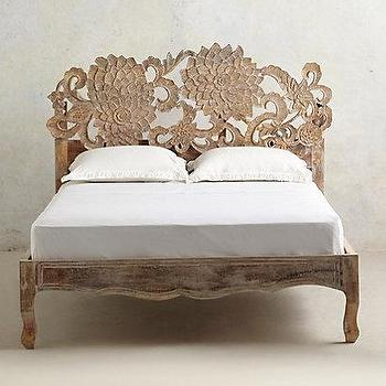 Beds/Headboards - Handcarved Lotus Bed I anthropologie.com - handcarved bed, handcarved lotus bed, lotus flower bed,