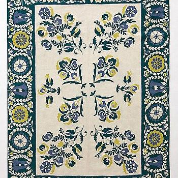 Rugs - Delfina Crewelwork Rug I anthropologie.com - teal green crewelwork rug, teal and yellow floral rug, teal green and yellow rug, crewelwork rug,