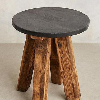 Tables - Slate Top Side Table I anthropologie.com - round slate topped side table, reclaimed wood and slate side table, rustic side table with slate top,