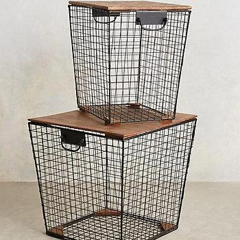 Tables - Stow Bin Side Tables I anthropologie.com - wire basket side table, wire bin side table, wire basket end table, wire storage side table,