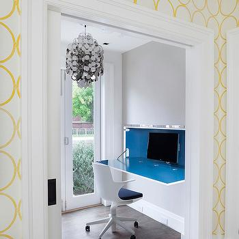 Melanie Morris Design - dens/libraries/offices: white and yellow wallpaper, modern yellow and white wallpaper, geometric yellow and white wallpaper, yellow and white circle wallpaper, wall mounted desk, wall mount drop down desk, modern wall mount desk, wall mount blue lacquered desk, modern white desk chair, modern swivel desk chair, french doors, sliding pocket doors, pocket doors, gray walls, gray wall color, silver disc pendant, modern silver disc pendant, circles wallpaper, yellow circles wallpaper, modern desk, drop down desk, wall drop down desk, wall desk, wall mount desk, wall mounted desk, wall mounted drop down desk, silver dic chandelier, pocket door, office pocket door, pocket door office,