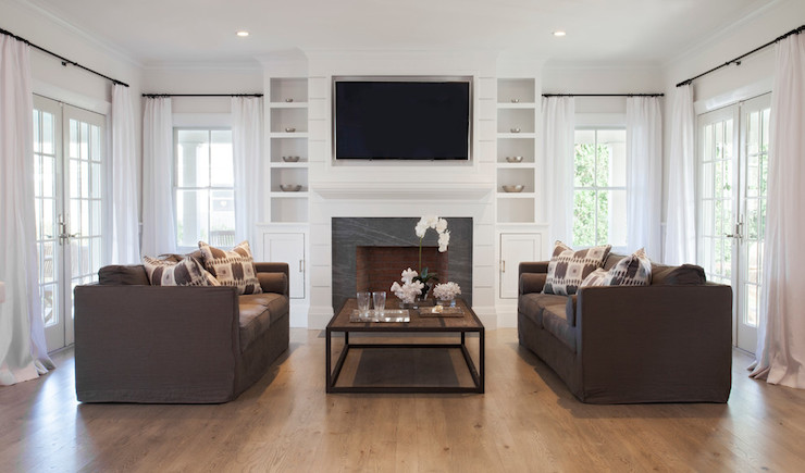 Brown Slipcovered Sofas Transitional Living Room