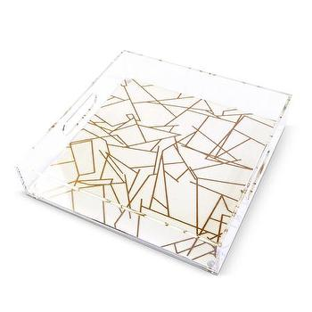 Decor/Accessories - Large Lucite Geo Tray I Furbish Studio - gold and white lucite tray, geometric gold lucite tray, geometric patterned lucite tray, lucite tray, lucite bar tray,
