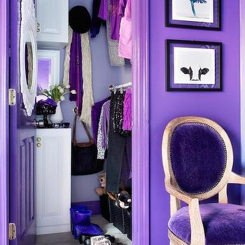 Decor Demon - closets - purple closets, purple walls, purple doors, purple chair, purple velvet chair, oval back chair, purple oval back chair, white baroque mirror,