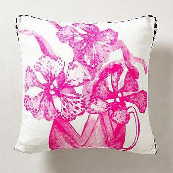 Pillows - Orchid Pillow I anthropologie.com - hot pink flower pillow, hot pink orchid pillow, pink and white orchid pillow, orchid print pillow,