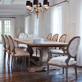 Christopher Home Furnishings - dining rooms - trestle dining table, reclaimed dining table, reclaimed wood dining table, french dining chairs, french script dining chairs, board and batten, dining room board and batten, board and batten dining room,