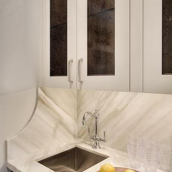 Leathered White Marble, Transitional, kitchen, Veranda Interiors