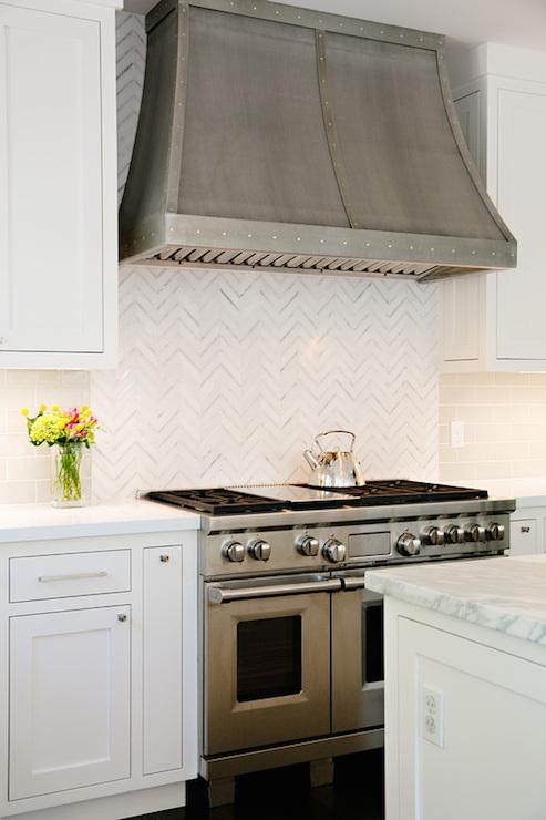 Herringbone backsplash transitional kitchen evars for Anderson kitchen cabinets