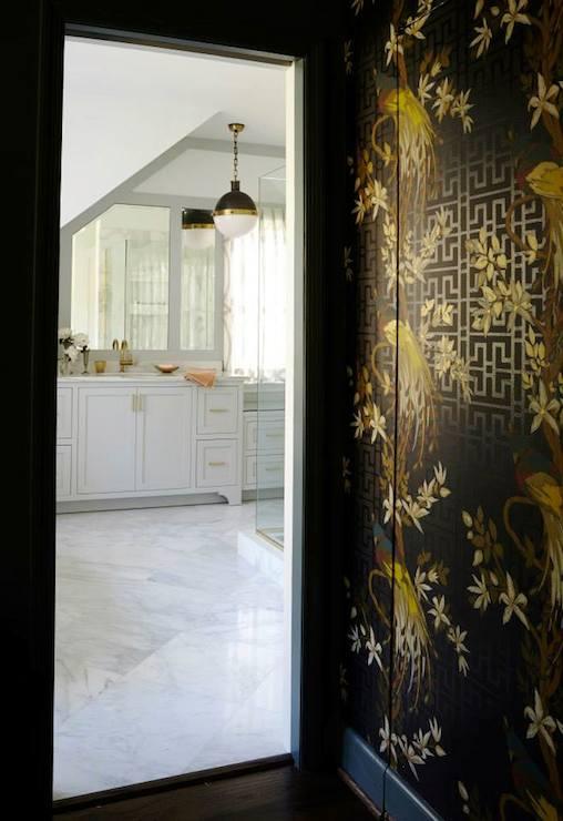 Nina campbell wallpaper eclectic bathroom rebecca - Nina campbell paradiso wallpaper ...
