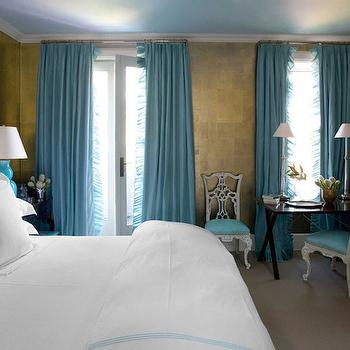 Turquoise Curtains, French, bedroom, Benjamin Moore Crystal Blue, House Beautiful