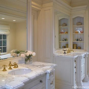 Hungeling Design - bathrooms - his and her vanity, his and her washstands, his and her vanities, his and her vanity inks, antique white vanity, antique white washstands, antique white cabinets, white and gray marble, inset mirrors,