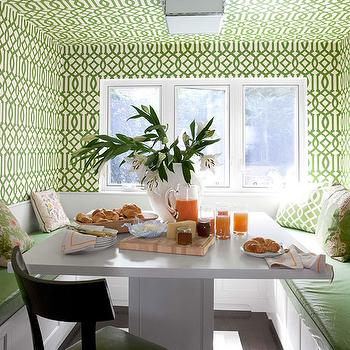 House Beautiful - dining rooms - dining nook, breakfast nook, breakfast nook ideas, wallpapered breakfast nook, wallpapered dining room, wallpapered ceiling, imperial trellis wallpaper, green imperial trellis wallpaper, green trellis wallpaper, treillage imperial trellis, treillage imperial trellis wallpaper, u shaped banquette, built in banquette dining banquette, white dining table, square dining table, green vinyl cushions, kelly wearstler wallpaper,