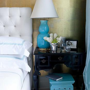 House Beautiful - bedrooms - chinoiserie bedroom, gold wallpaper, metallic wallpaper, gold metallic wallpaper, metallic gold wallpaper, chinese pewter paper, chinese pewter wallpaper, gold leaf wallpaper, white tufted headboard, white velvet headboard, white velvet tufted headboard, white and turquoise bedding, white and blue hotel bedding, black bedside table, turquoise table lamp, turquoise gourd lamp, turquoise double gourd lamp, turquoise stool, turquoise porcelain stool,