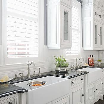 Double Kitchen Sinks, Transitional, kitchen, Benjamin Moore Stormy Sky, Hungeling Design