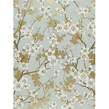 Wallpaper - Ming Cherry Blossom Wallpaper I Twenty One 7 - blue cherry blossom wallpaper, cherry blossom wallpaper, cherry blossom print wallpaper,