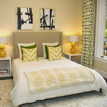 Yellow and Green Bedroom, Contemporary, bedroom, Evars and Anderson