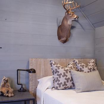 Summer House Style - boy's rooms - country cabin kids room, cabin kids room, cabin boys room, white plank ceiling, gray wall panels, gray wall paneling, paneled kids room, gray paneled room, paneled bedroom, gray paneled bedroom, barn board bed, horizontal wall panels, horizontal wall paneling, tone on tone pillows, gray pillows, industrial bedside table,