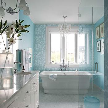 House Beautiful - bathrooms - Sherwin Williams - Waterfall - turquoise bathroom, turquoise bathroom ideas, turquoise blue bathroom, white and turquoise bath, white and turquoise bathroom, turquoise paint, turquoise paint colors, turquoise wall paint, turquoise bathroom walls, turquoise bathroom paint, bathroom accent wall, accent wall bathroom, wallpapered accent wall, bathroom wallpaper, empire bathtub, empire freestanding bathtub, double washstand, ann morris sconces, marble herringbone tiles, marble herringbone floor, glass walk in shower,