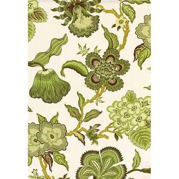 Fabrics - Hot House Flowers I Twenty One 7 - green floral fabric, green botanical fabric, green floral print fabric,