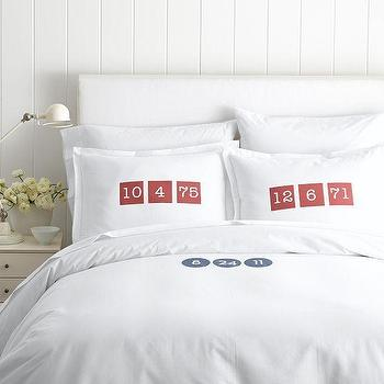 Bedding - Make Your Mark Cotton Collection, Numbers | Mark and Graham - monogrammed date bedding, white bedding with monogrammed date, white bedding with personalized date,