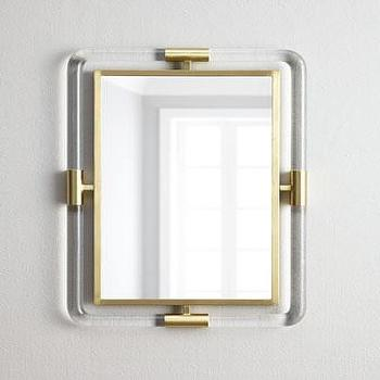 Mirrors - Jonathan Adler Jacques Acrylic Mirror I Horchow - lucite and brass mirror, modern lucite and brass mirror, lucite and brass framed mirror,