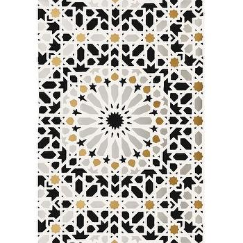 Wallpaper - Nasrid Palace Mosaic Wallpaper I Twenty One 7 - moroccan mosaic wallpaper, black gold and gray moroccan wallpaper, moroccan tile wallpaper, black gold and silver moroccan wallpaper,
