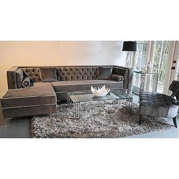 Seating - Decenni Custom Furniture 'Tobias' Grey Velvet Tufted Sofa | Overstock - gray velvet sectional, gray velvet tufted sectional, gray velvet tufted sectional sofa,