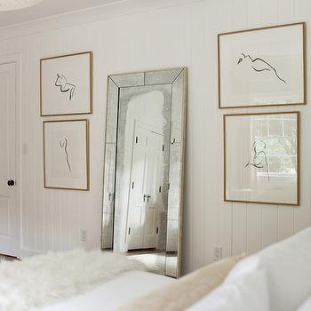 Summer House Style - bedrooms - bedroom floor mirror, floor mirror, antiqued floor mirror, bedroom art, abstract nude sketch, vertical wall panels, vertical wall paneling, paneled bedroom, vertical paneled bedroom, beveled floor mirror,
