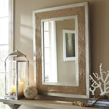 Mirrors - Moroni Rope Mirror | Pottery Barn - rope framed mirror, silver framed rope mirror, silver and rope mirror,