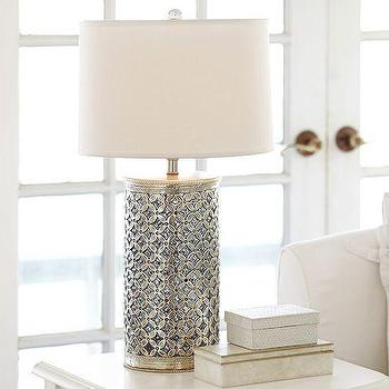 Lighting - Ramona Bedside Lamp Base | Pottery Barn - antique silver table lamp, silver glass inlaid lamp, antique silver and glass table lamp,