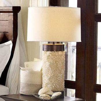 Mirrors - Cassie Floral Bedside Lamp Base | Pottery Barn - seashell lamp, sea shell lamp, white seashell lamp, clam shell lamp, seashell encrusted lamp,